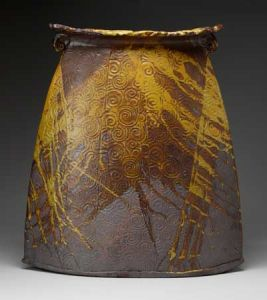 Large Flat Vase with Yellow Spirals