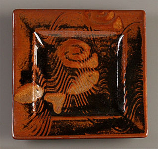 Small Square Plate in Tenmoku