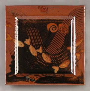 Large Square Plate in Tenmoku