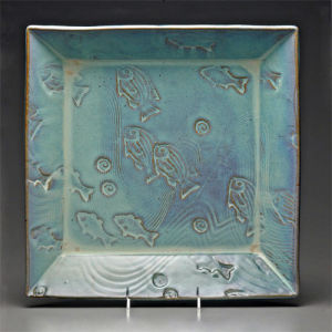 Large Square Platter in Seafoam