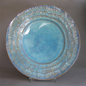 Large Platter with Ribbed Flange In Seafoam