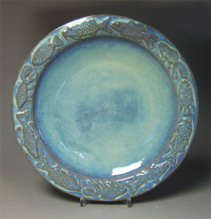 Large Round Fish Platter in Seafoam