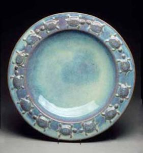 Large Round Turtle Platter in Seafoam