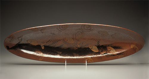 Large Ellipse Platter in Tenmoku