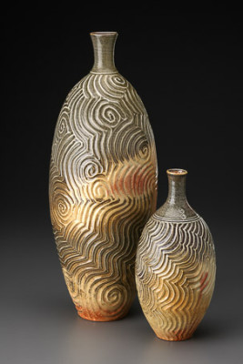 Carbon Trap Shino Vases by Iris Minc