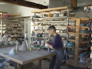 Iris making some slab built vases