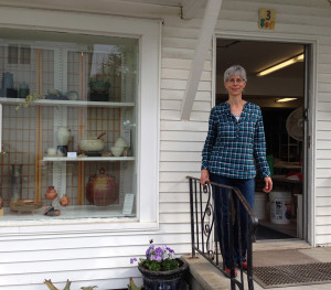 Iris in front of studio