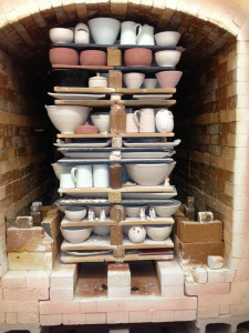 kiln load of pots ready to be fired